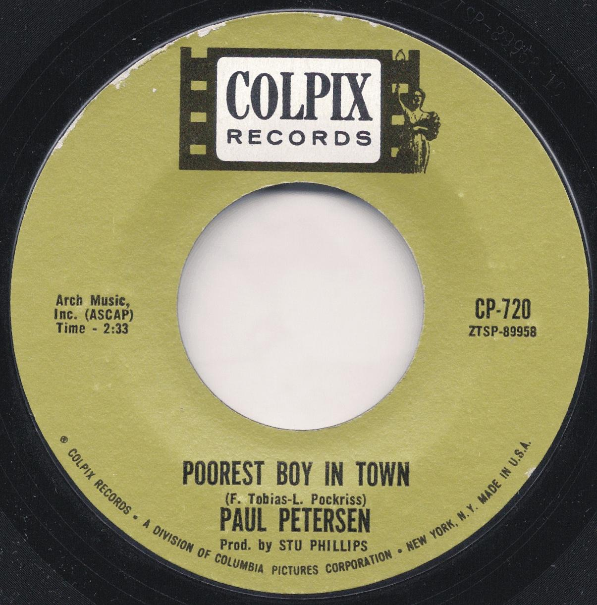 Paul Petersen Poorest Boy In Town She Rides With Me